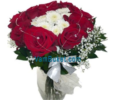"""Bouquet of flowers of red roses and white chrysanthemums"" in the online flower shop vambuket.com"