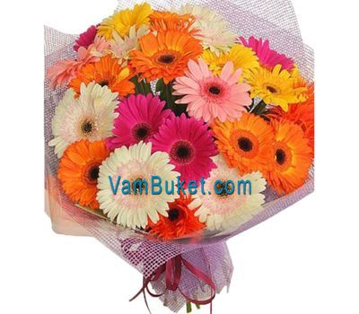 """""""Bouquet of flowers from 25 multi-colored gerberas"""" in the online flower shop vambuket.com"""
