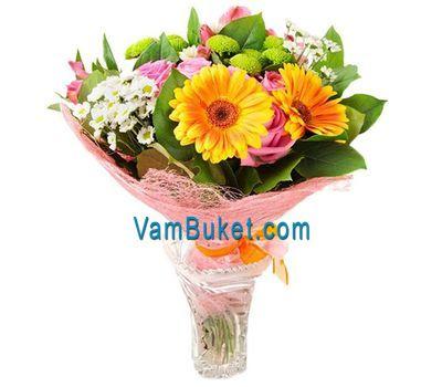 """""""Букет цветов из 3 роз, 3 гербер и 3 хризантем"""" в интернет-магазине цветов vambuket.com"""