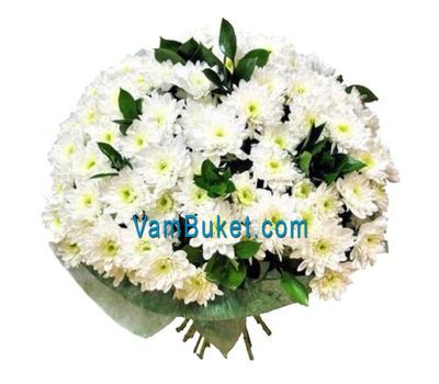 """Bouquet of 19 white chrysanthemums"" in the online flower shop vambuket.com"