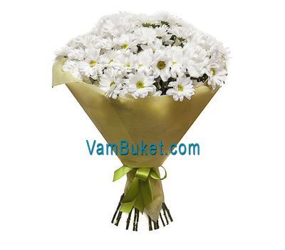 """Bouquet of 15 white chrysanthemums"" in the online flower shop vambuket.com"