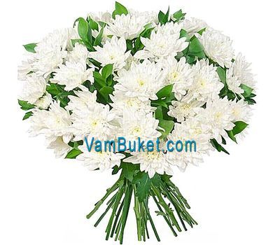 """Bouquet of 25 white chrysanthemums"" in the online flower shop vambuket.com"