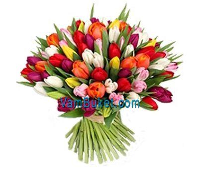 """""""Букет цветов из 101 тюльпана"""" в интернет-магазине цветов vambuket.com"""