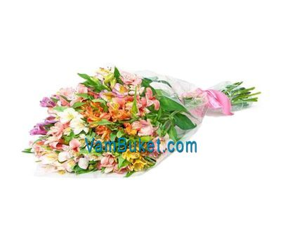 """Bouquet of 17 multicolored alstromeries"" in the online flower shop vambuket.com"