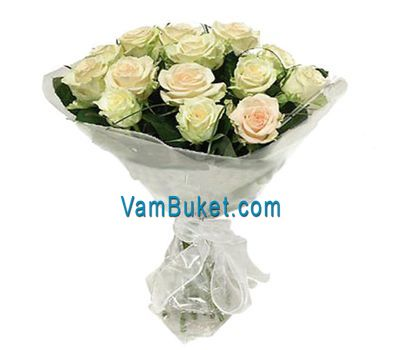 """Bouquet of 19 white roses"" in the online flower shop vambuket.com"