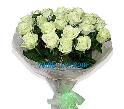 """Bouquet of 25 white roses"" in the online flower shop vambuket.com"