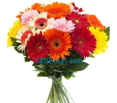 """Bouquet of flowers from 25 multi-colored gerberas"" in the online flower shop vambuket.com"