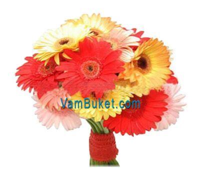 """""""Букет цветов из 19 разноцветных гербер"""" в интернет-магазине цветов vambuket.com"""