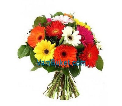 """Bouquet of 13 different colored gerberas"" in the online flower shop vambuket.com"