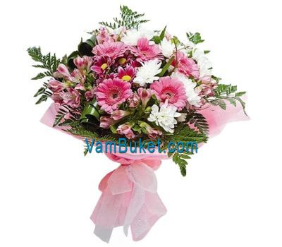 """Bouquet of flowers from 5 gerberas, 7 chrysanthemums and 5 alstroemerias"" in the online flower shop vambuket.com"
