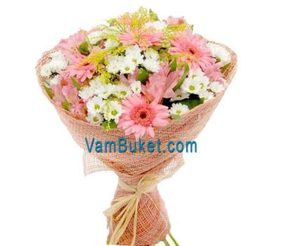"""Bouquet of 7 gerberas, 8 chrysanthemums and 4 alstroemerias"" in the online flower shop vambuket.com"