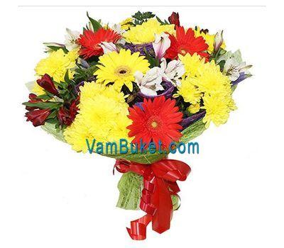 """""""Букет цветов из 4 гербер, 5 хризантем и 6 альстромерий"""" в интернет-магазине цветов vambuket.com"""