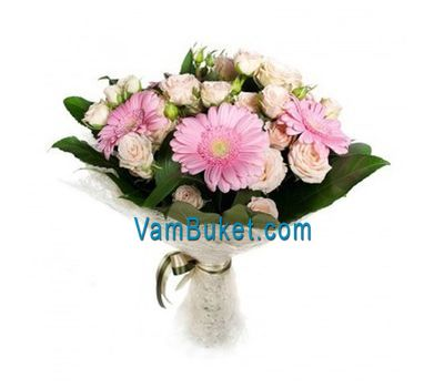 """Bouquet of flowers from 7 roses and 4 chrysanthemums"" in the online flower shop vambuket.com"