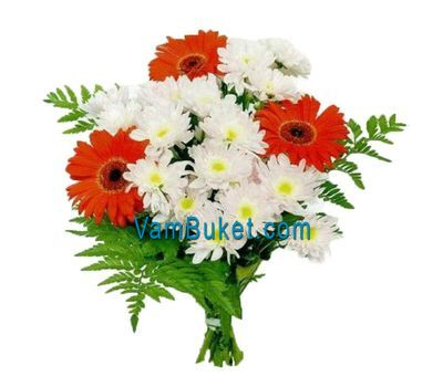 """Bouquet of flowers from 4 gerberas and 3 chrysanthemums"" in the online flower shop vambuket.com"