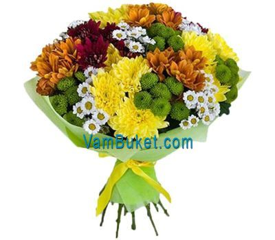 """Bouquet of 27 multi-colored chrysanthemums"" in the online flower shop vambuket.com"