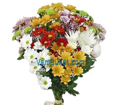 """Bouquet of 13 different colored chrysanthemums"" in the online flower shop vambuket.com"
