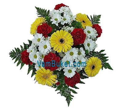 """Bouquet of flowers from 5 chrysanthemums, 5 gerberas and 7 carnations"" in the online flower shop vambuket.com"