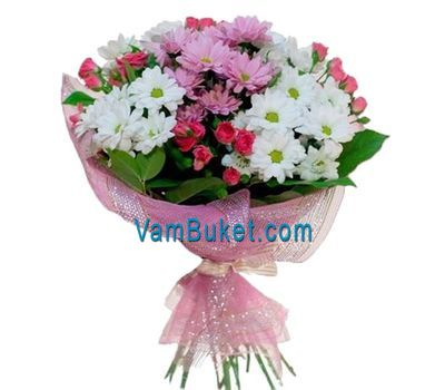 """Bouquet of flowers from 15 chrysanthemums and 7 roses"" in the online flower shop vambuket.com"