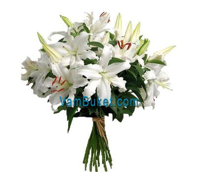 """Bouquet of 7 white lilies flowers"" in the online flower shop vambuket.com"