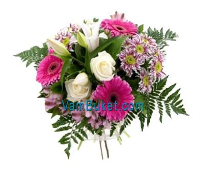 """Bouquet of flowers of 3 roses, 3 gerberas, 3 chrysanthemums, 1 lilies and 3 alstroemerias"" in the online flower shop vambuket.com"