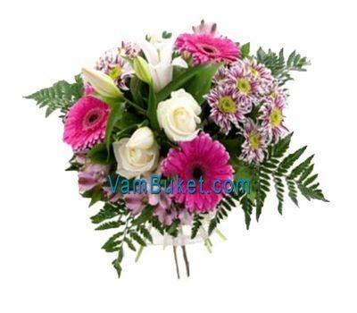 """""""Букет цветов из 3 роз, 3 гербер, 3 хризантем, 1 лилии и 3 альстромерий"""" в интернет-магазине цветов vambuket.com"""