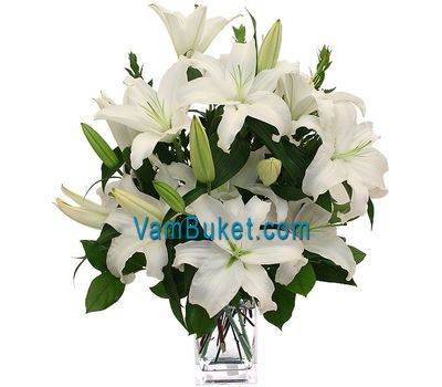"""Bouquet of flowers of 5 white lilies"" in the online flower shop vambuket.com"