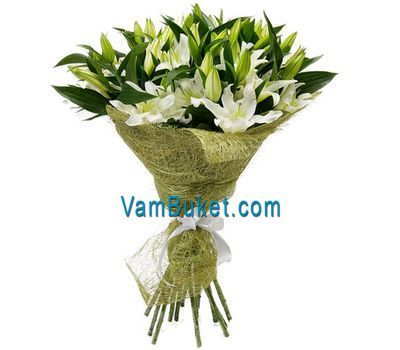 """Bouquet of flowers from 1 yellow lily and 4 yellow gerberas"" in the online flower shop vambuket.com"