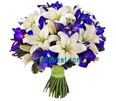 """""""Букет цветов из 7 лилий и 15 ирисов"""" в интернет-магазине цветов vambuket.com"""