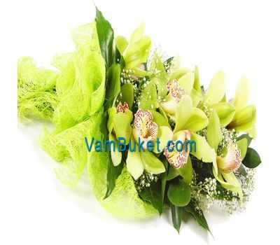 """Bouquet of flowers from 3 branches of a pink orchid"" in the online flower shop vambuket.com"