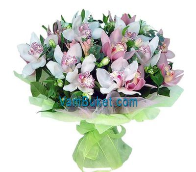 """Bouquet of flowers from 19 flowers of white and pink orchids"" in the online flower shop vambuket.com"