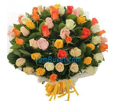 """Bouquet of 55 multi-colored roses"" in the online flower shop vambuket.com"