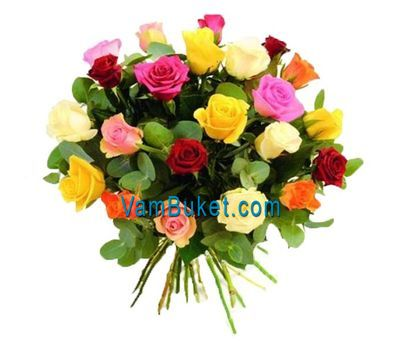 """Bouquet of 25 multi-colored roses"" in the online flower shop vambuket.com"