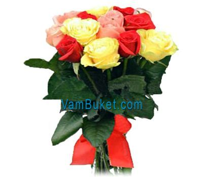 """Bouquet of 15 multi-colored roses"" in the online flower shop vambuket.com"