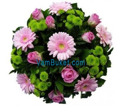 """Bouquet of flowers of 9 roses, 6 gerberas and 6 chrysanthemums"" in the online flower shop vambuket.com"
