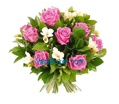 """Bouquet of flowers from 15 roses and 8 alstroemerias"" in the online flower shop vambuket.com"