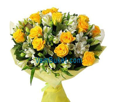 """Bouquet of flowers from 15 roses and 18 alstroemerias"" in the online flower shop vambuket.com"