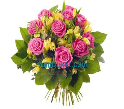 """Bouquet of flowers from 13 roses and 12 alstroemerias"" in the online flower shop vambuket.com"