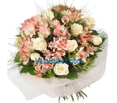 """Bouquet of flowers from 9 roses and 10 alstroemerias"" in the online flower shop vambuket.com"