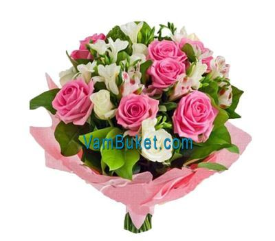 """Bouquet of flowers from 14 roses and 7 alstroemerias"" in the online flower shop vambuket.com"