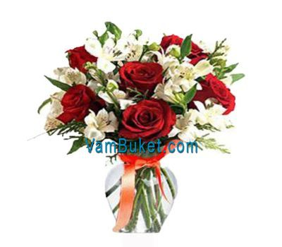 """Bouquet of 7 roses and 8 alstroemerias"" in the online flower shop vambuket.com"