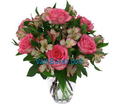 """Bouquet of 7 roses and 10 alstroemerias"" in the online flower shop vambuket.com"