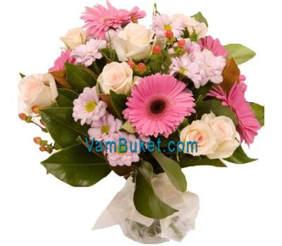 """Bouquet of flowers from 9 roses, 5 gerberas and 3 chrysanthemums"" in the online flower shop vambuket.com"
