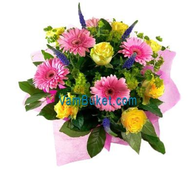 """Bouquet of flowers from 9 roses and 6 gerberas"" in the online flower shop vambuket.com"