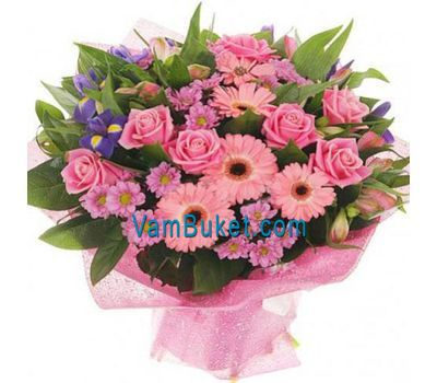 """Bouquet of flowers of 9 roses, 6 gerberas, 5 chrysanthemums and 3 alstroemerias"" in the online flower shop vambuket.com"