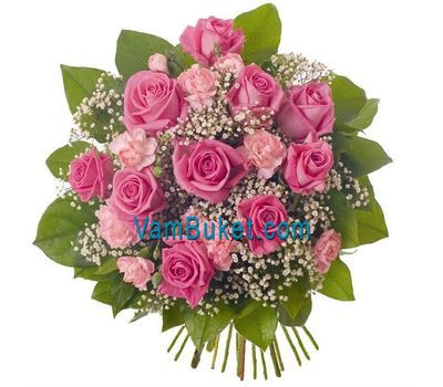 """Bouquet of 9 roses and 10 carnations"" in the online flower shop vambuket.com"