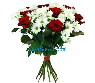 """Bouquet of flowers from 6 roses and 5 chrysanthemums"" in the online flower shop vambuket.com"