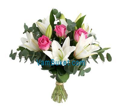 """Bouquet of flowers from 3 roses and 2 lilies"" in the online flower shop vambuket.com"