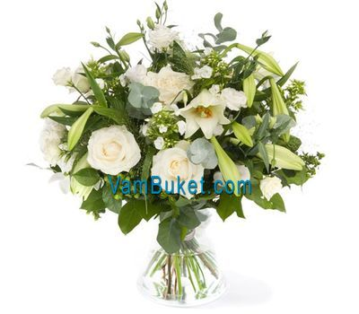 """Bouquet of flowers from 9 roses, 1 lilies and 5 chrysanthemums"" in the online flower shop vambuket.com"