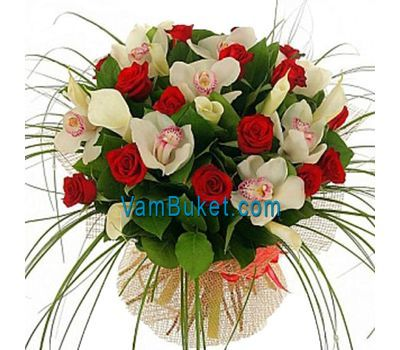"""""""Bouquet of flowers from 15 roses and 12 orchids"""" in the online flower shop vambuket.com"""