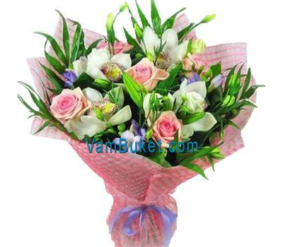 """Bouquet of flowers from 5 roses, 4 orchids and 6 alstroemerias"" in the online flower shop vambuket.com"